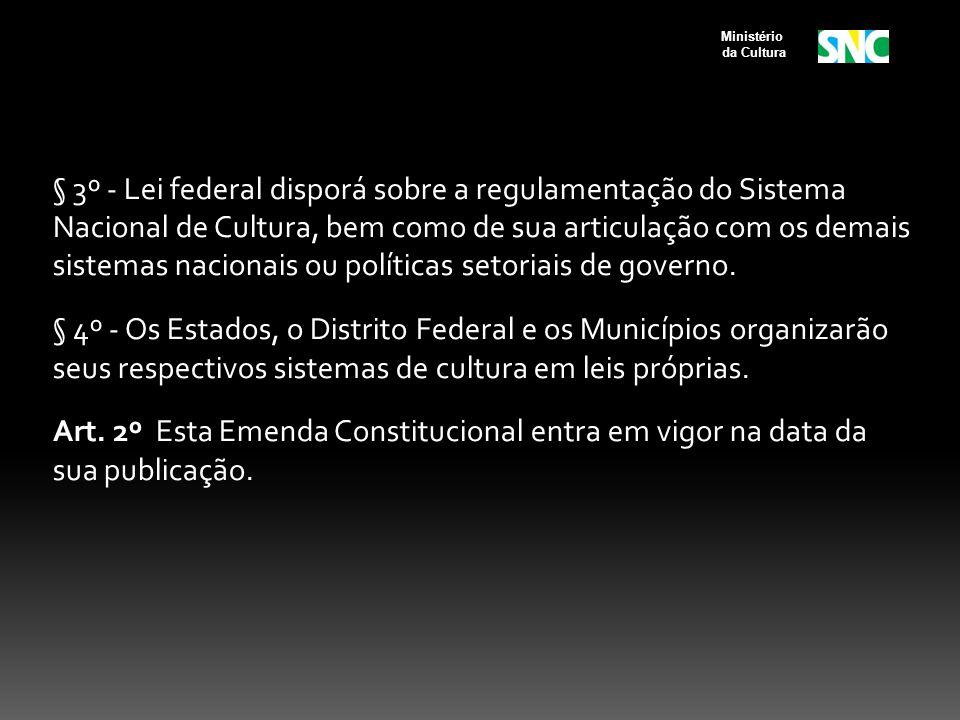 § 3º - Lei federal disporá sobre a regulamentação do Sistema Nacional de Cultura, bem como de sua articulação com os demais sistemas nacionais ou políticas setoriais de governo.