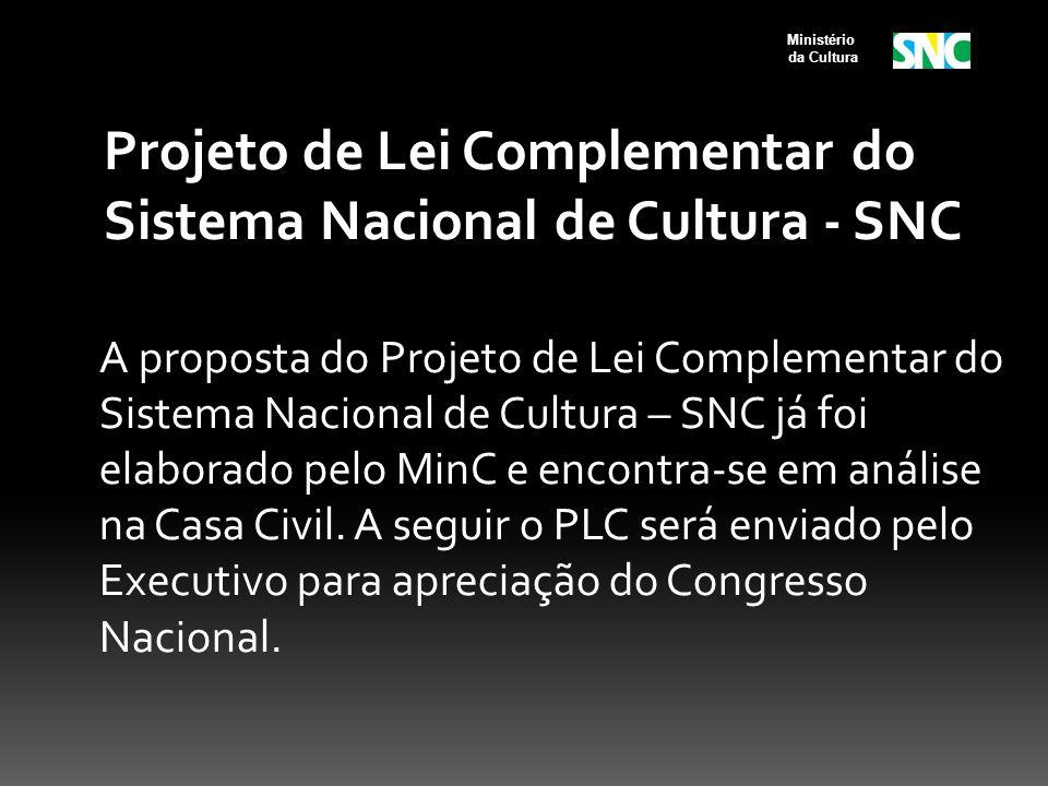 Projeto de Lei Complementar do Sistema Nacional de Cultura - SNC A proposta do Projeto de Lei Complementar do Sistema Nacional de Cultura – SNC já foi elaborado pelo MinC e encontra-se em análise na Casa Civil.
