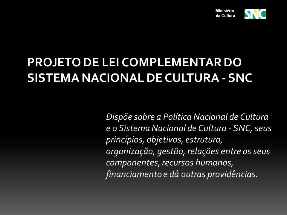 PROJETO DE LEI COMPLEMENTAR DO SISTEMA NACIONAL DE CULTURA - SNC Dispõe sobre a Política Nacional de Cultura e o Sistema Nacional de Cultura - SNC, se