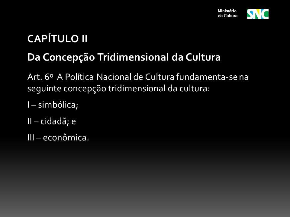 CAPÍTULO II Da Concepção Tridimensional da Cultura Art. 6º A Política Nacional de Cultura fundamenta-se na seguinte concepção tridimensional da cultur