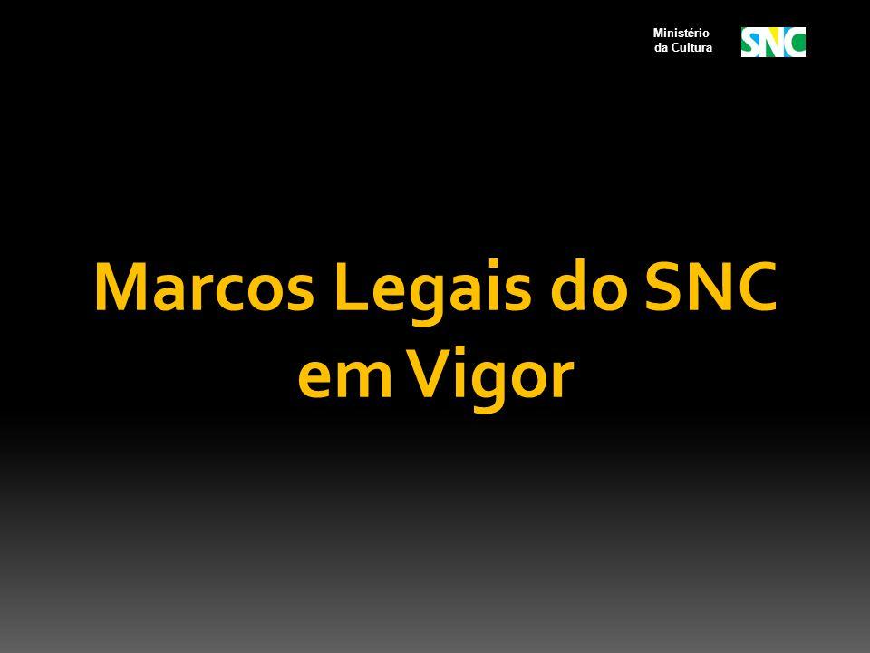 Marcos Legais do SNC em Vigor Ministério da Cultura