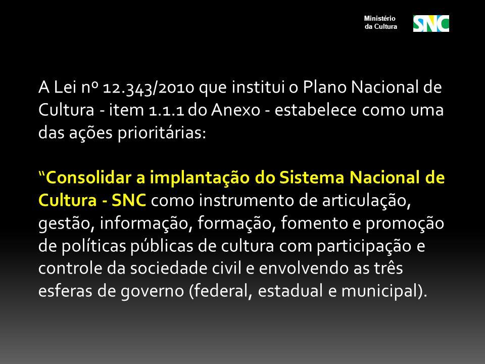A Lei nº 12.343/2010 que institui o Plano Nacional de Cultura - item 1.1.1 do Anexo - estabelece como uma das ações prioritárias: Consolidar a implant