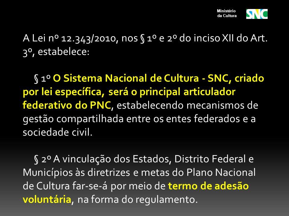 A Lei nº 12.343/2010, nos § 1º e 2º do inciso XII do Art. 3º, estabelece: § 1º O Sistema Nacional de Cultura - SNC, criado por lei específica, será o