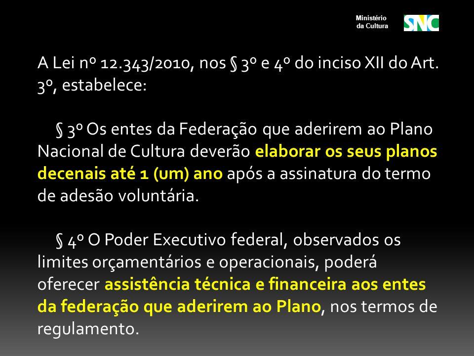 A Lei nº 12.343/2010, nos § 3º e 4º do inciso XII do Art. 3º, estabelece: § 3º Os entes da Federação que aderirem ao Plano Nacional de Cultura deverão