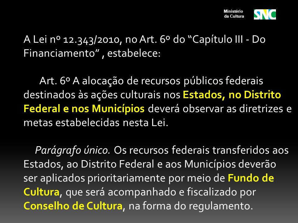 A Lei nº 12.343/2010, no Art. 6º do Capítulo III - Do Financiamento, estabelece: Art. 6º A alocação de recursos públicos federais destinados às ações