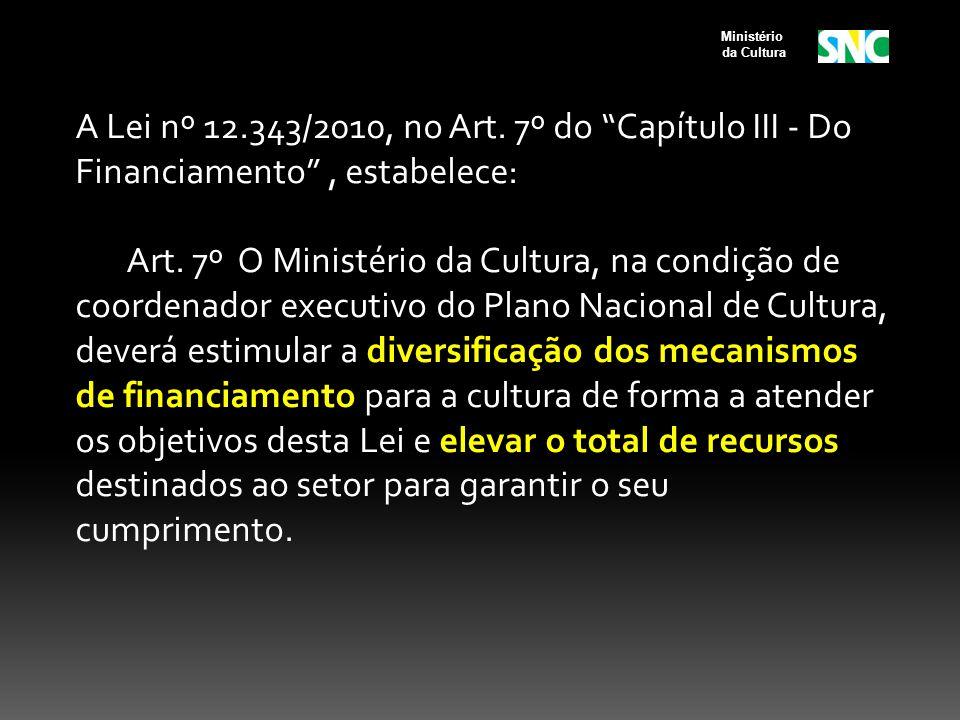 A Lei nº 12.343/2010, no Art. 7º do Capítulo III - Do Financiamento, estabelece: Art. 7º O Ministério da Cultura, na condição de coordenador executivo