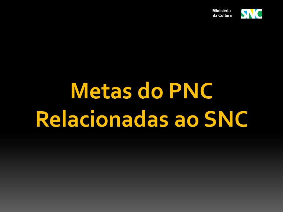 Metas do PNC Relacionadas ao SNC Ministério da Cultura