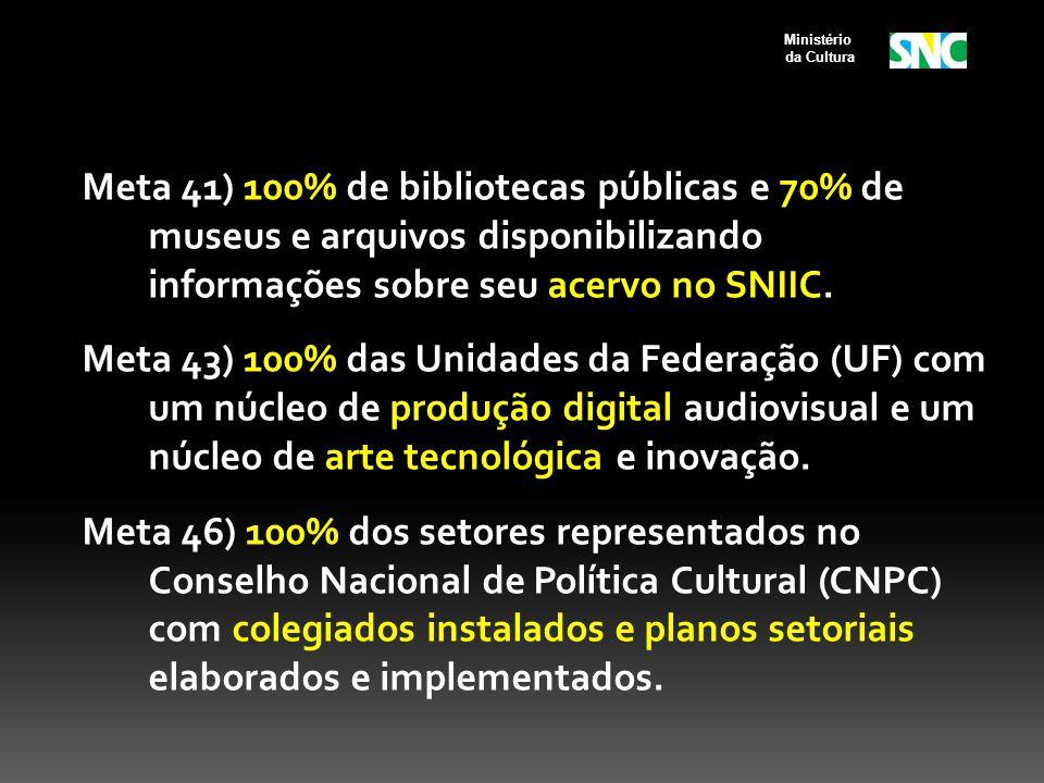 Meta 41) 100% de bibliotecas públicas e 70% de museus e arquivos disponibilizando informações sobre seu acervo no SNIIC. Meta 43) 100% das Unidades da