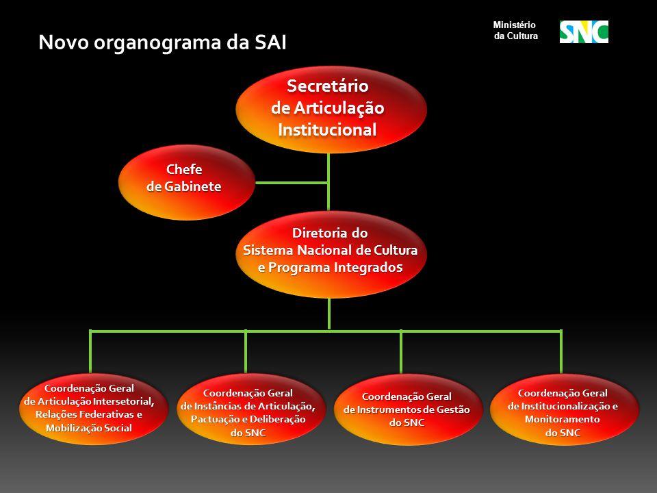 Ministério da Cultura Novo organograma da SAI Chefe de Gabinete Diretoria do Sistema Nacional de Cultura e Programa Integrado s Coordenação Geral de A