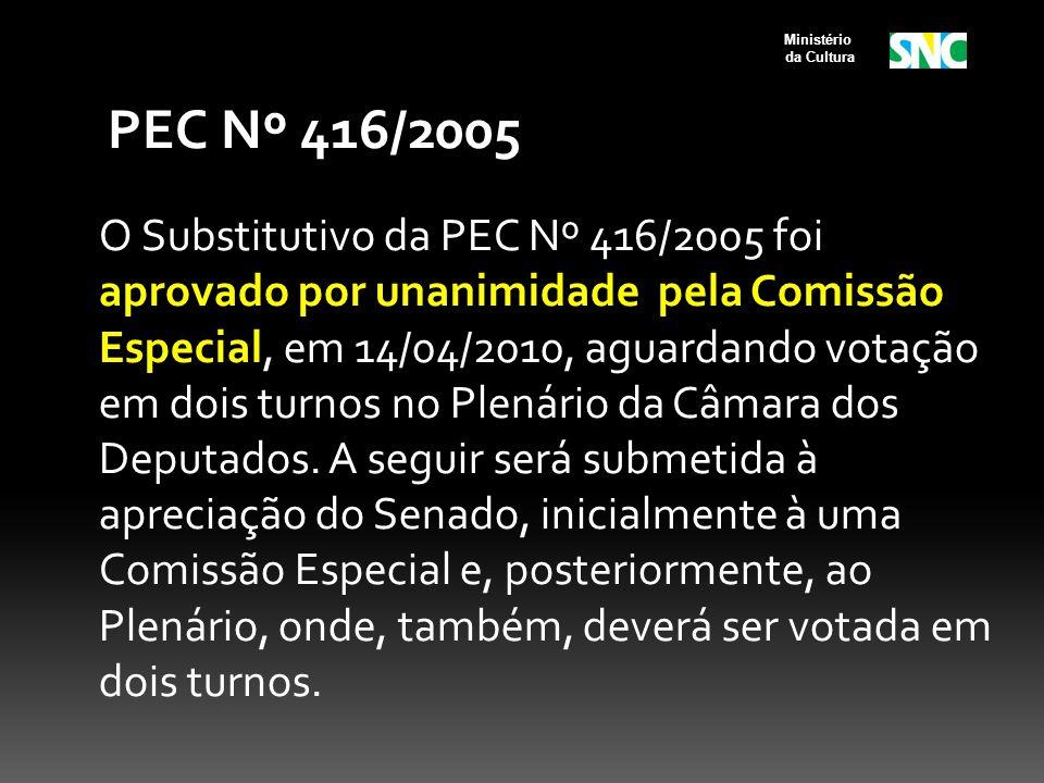 PEC Nº 416/2005 O Substitutivo da PEC Nº 416/2005 foi aprovado por unanimidade pela Comissão Especial, em 14/04/2010, aguardando votação em dois turno
