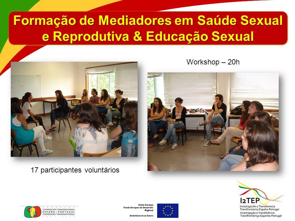 Formação de Mediadores em Saúde Sexual e Reprodutiva & Educação Sexual 17 participantes voluntários Workshop – 20h