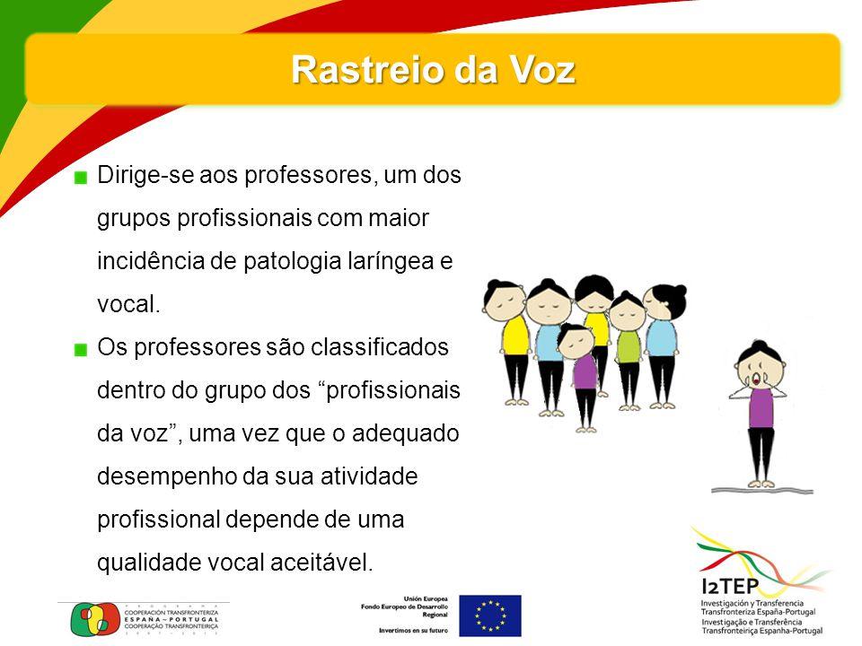 Rastreio da Voz Dirige-se aos professores, um dos grupos profissionais com maior incidência de patologia laríngea e vocal. Os professores são classifi