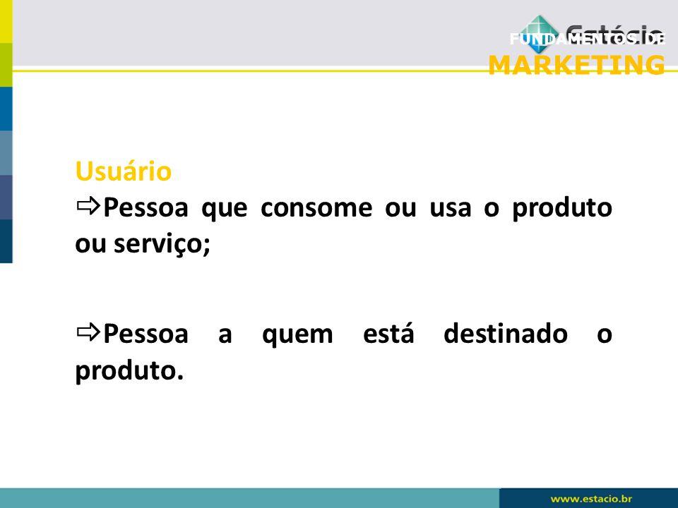 FUNDAMENTOS DE MARKETING Usuário Pessoa que consome ou usa o produto ou serviço; Pessoa a quem está destinado o produto.