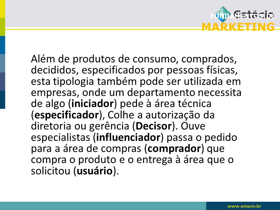 FUNDAMENTOS DE MARKETING Além de produtos de consumo, comprados, decididos, especificados por pessoas físicas, esta tipologia também pode ser utilizad