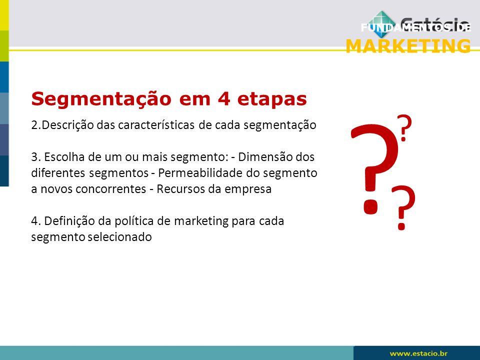 FUNDAMENTOS DE MARKETING Segmentação em 4 etapas ? ? ? 2.Descrição das características de cada segmentação 3. Escolha de um ou mais segmento: - Dimens