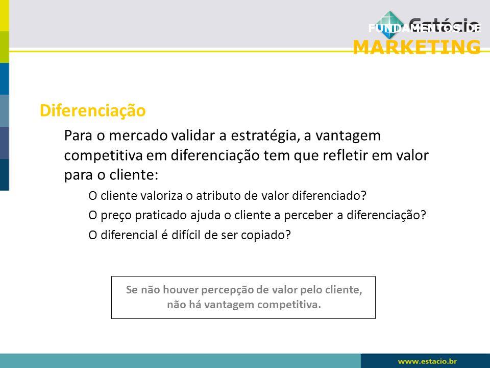 FUNDAMENTOS DE MARKETING Diferenciação Para o mercado validar a estratégia, a vantagem competitiva em diferenciação tem que refletir em valor para o c