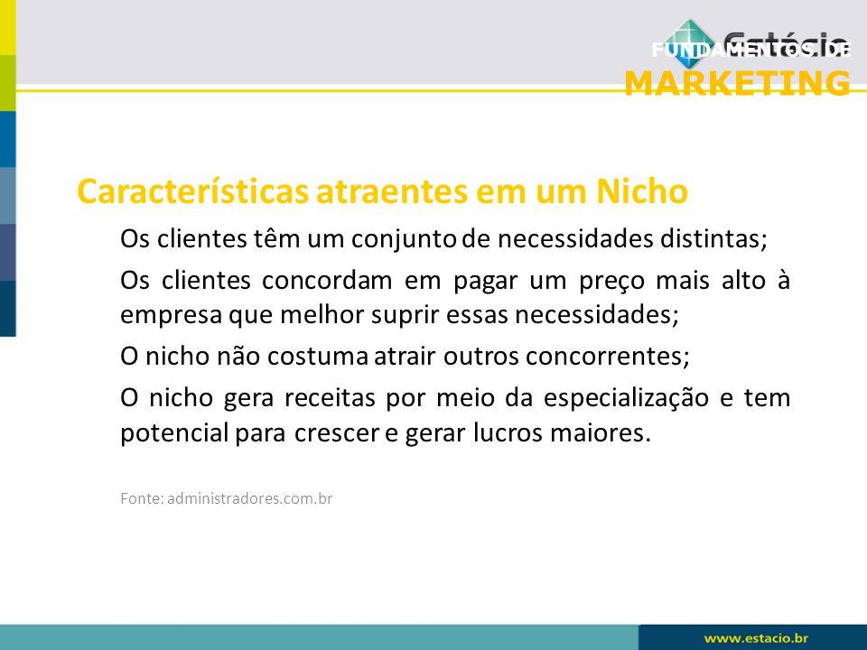 FUNDAMENTOS DE MARKETING Características atraentes em um Nicho Os clientes têm um conjunto de necessidades distintas; Os clientes concordam em pagar u