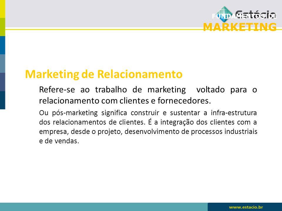 FUNDAMENTOS DE MARKETING Marketing de Relacionamento Refere-se ao trabalho de marketing voltado para o relacionamento com clientes e fornecedores. Ou