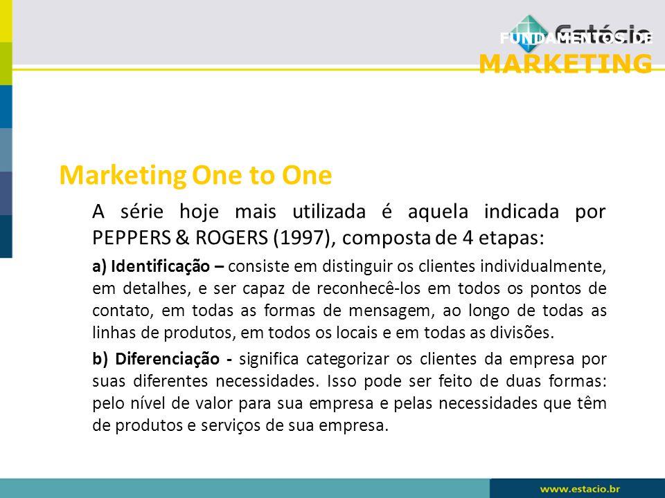 FUNDAMENTOS DE MARKETING Marketing One to One A série hoje mais utilizada é aquela indicada por PEPPERS & ROGERS (1997), composta de 4 etapas: a) Iden