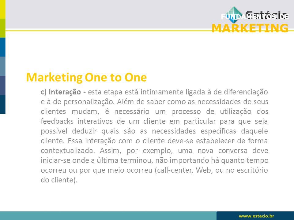 FUNDAMENTOS DE MARKETING Marketing One to One c) Interação - esta etapa está intimamente ligada à de diferenciação e à de personalização. Além de sabe