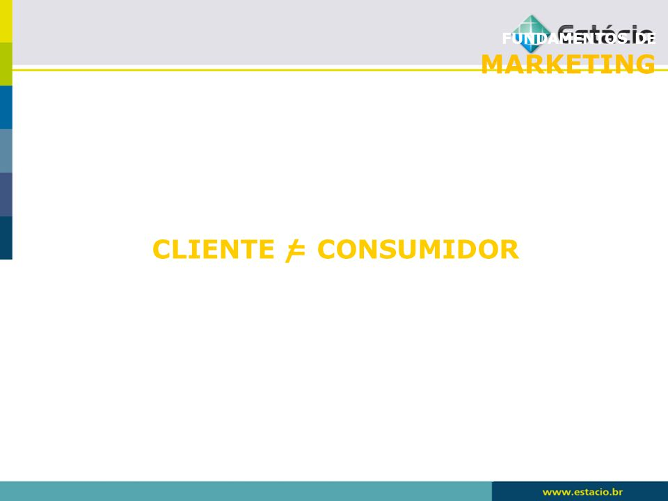 FUNDAMENTOS DE MARKETING CLIENTE = CONSUMIDOR /