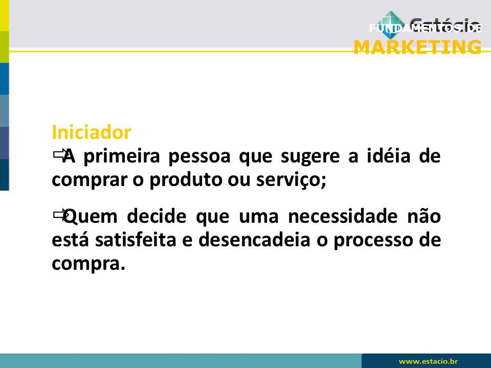 FUNDAMENTOS DE MARKETING Iniciador A primeira pessoa que sugere a idéia de comprar o produto ou serviço; Quem decide que uma necessidade não está sati
