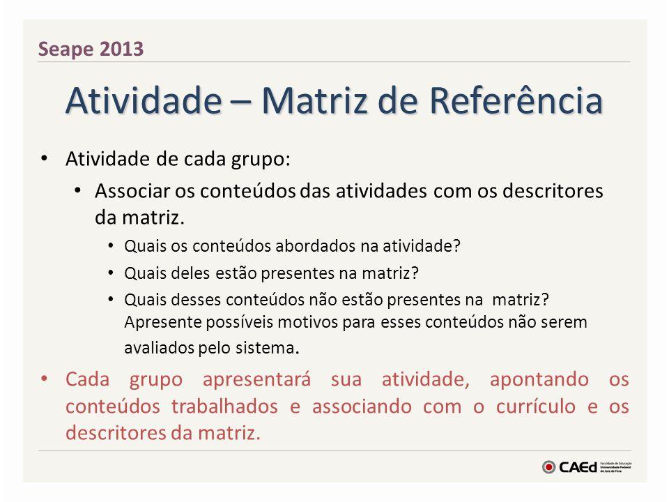 Atividade – Matriz de Referência Atividade de cada grupo: Associar os conteúdos das atividades com os descritores da matriz. Quais os conteúdos aborda