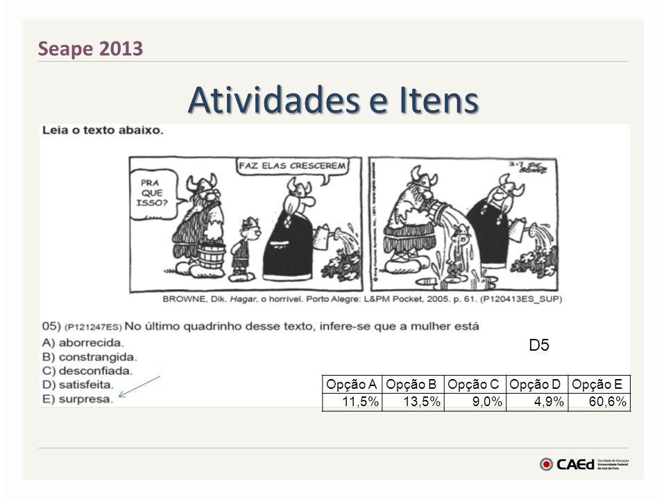 Atividades e Itens Seape 2013 D5 Opção AOpção BOpção COpção D Opção E 11,5%13,5%9,0%4,9%60,6%