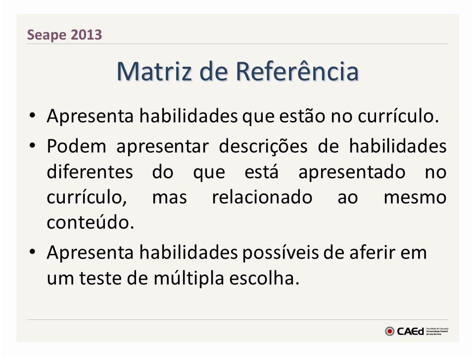 Matriz de Referência Apresenta habilidades que estão no currículo. Podem apresentar descrições de habilidades diferentes do que está apresentado no cu