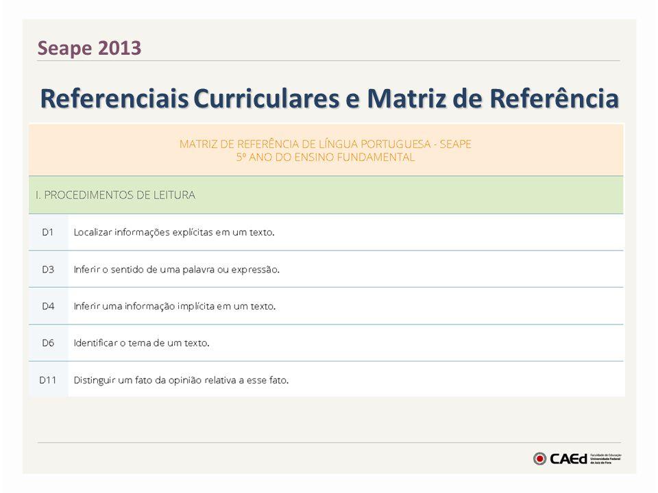 Matriz de Referência de Avaliação de Língua Portuguesa I.