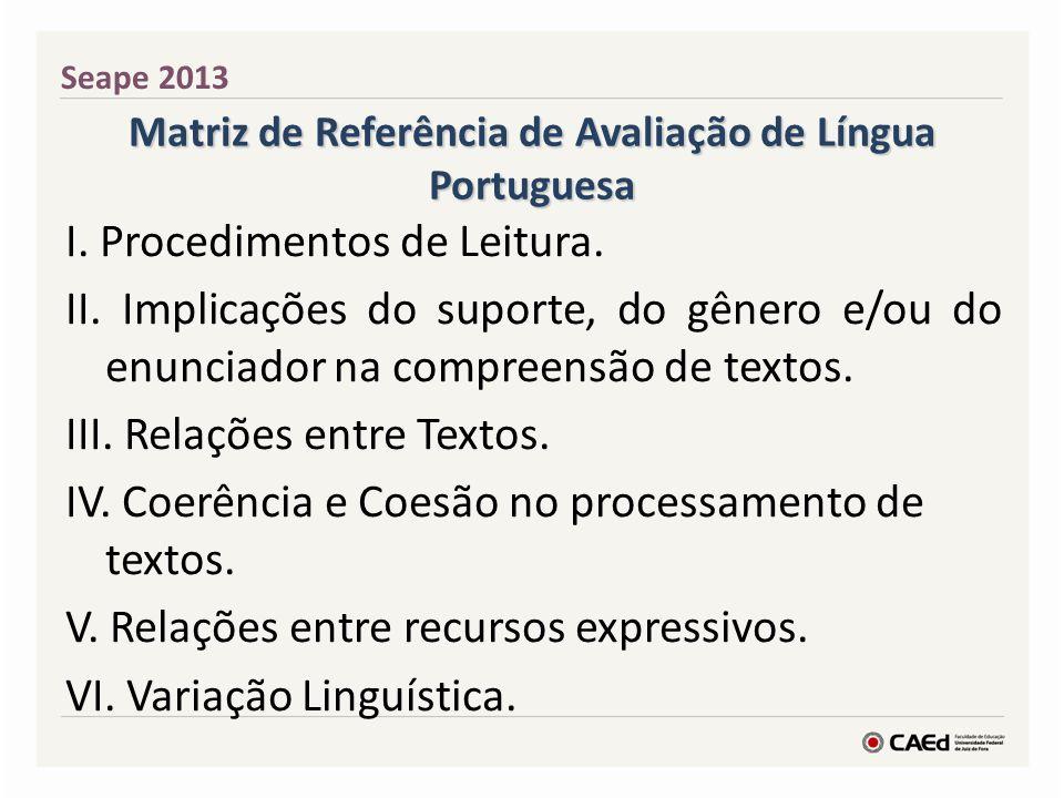 Matriz de Referência de Avaliação de Língua Portuguesa I. Procedimentos de Leitura. II. Implicações do suporte, do gênero e/ou do enunciador na compre