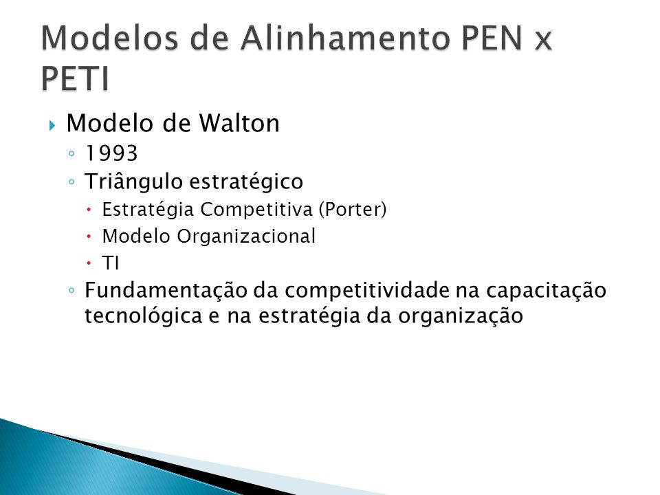 Modelo de Walton 1993 Triângulo estratégico Estratégia Competitiva (Porter) Modelo Organizacional TI Fundamentação da competitividade na capacitação t