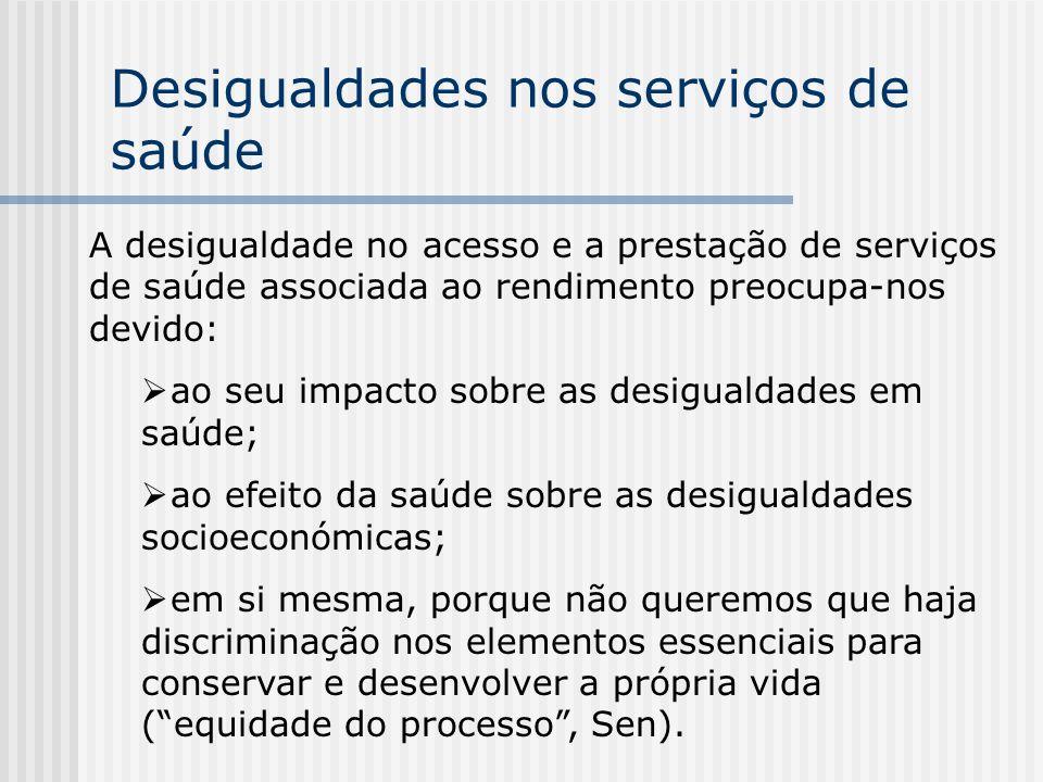 Desigualdades nos serviços de saúde A desigualdade no acesso e a prestação de serviços de saúde associada ao rendimento preocupa-nos devido: ao seu im