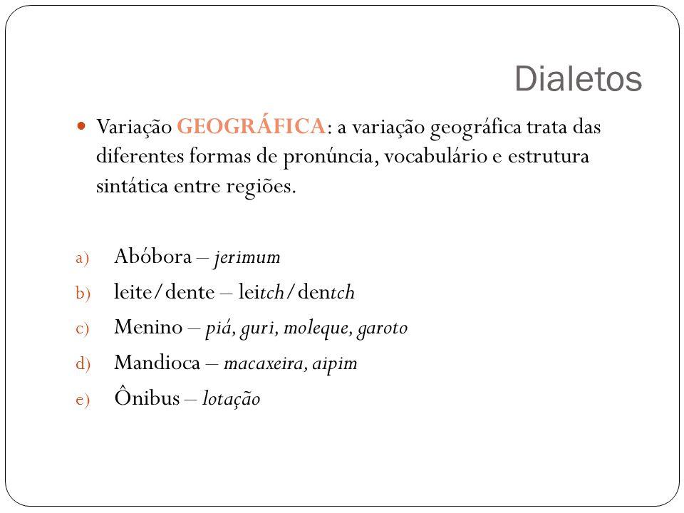 Dialetos Variação GEOGRÁFICA: a variação geográfica trata das diferentes formas de pronúncia, vocabulário e estrutura sintática entre regiões. a) Abób