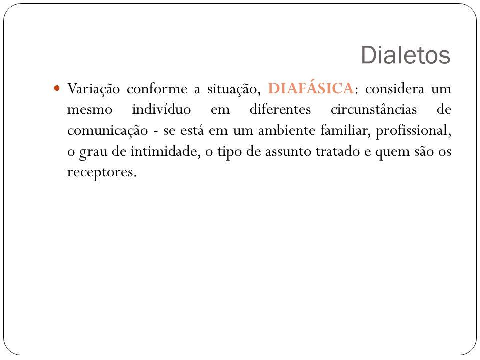 Dialetos Variação conforme a situação, DIAFÁSICA: considera um mesmo indivíduo em diferentes circunstâncias de comunicação - se está em um ambiente familiar, profissional, o grau de intimidade, o tipo de assunto tratado e quem são os receptores.
