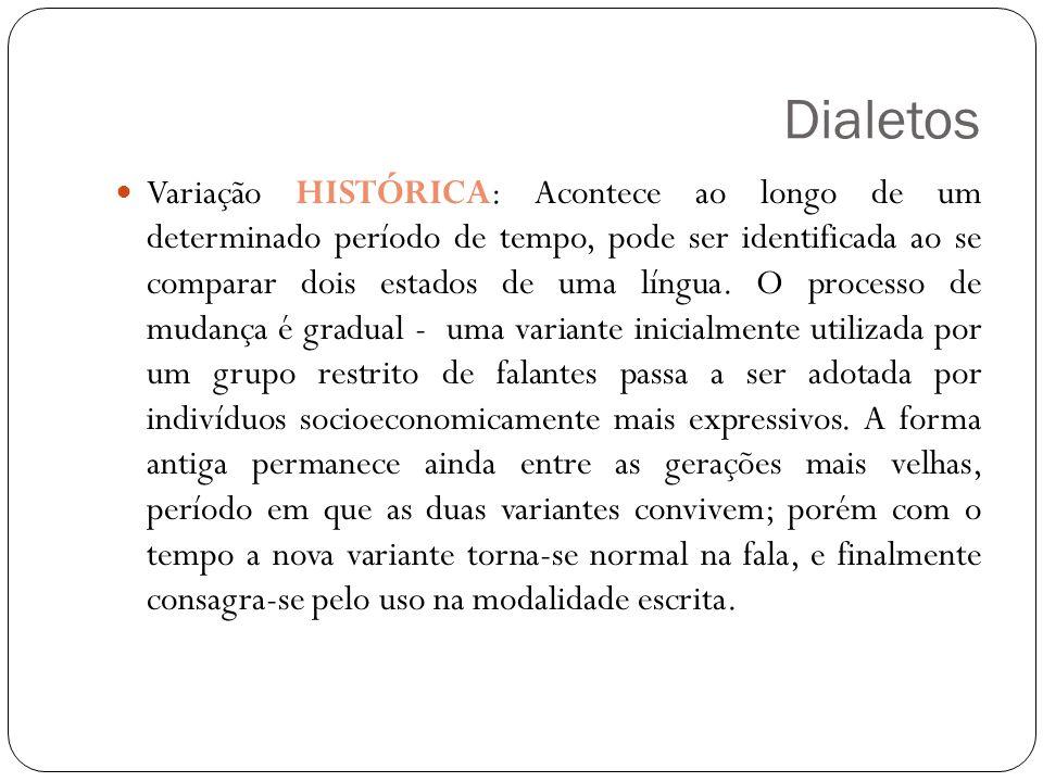 Dialetos Variação HISTÓRICA: Acontece ao longo de um determinado período de tempo, pode ser identificada ao se comparar dois estados de uma língua. O