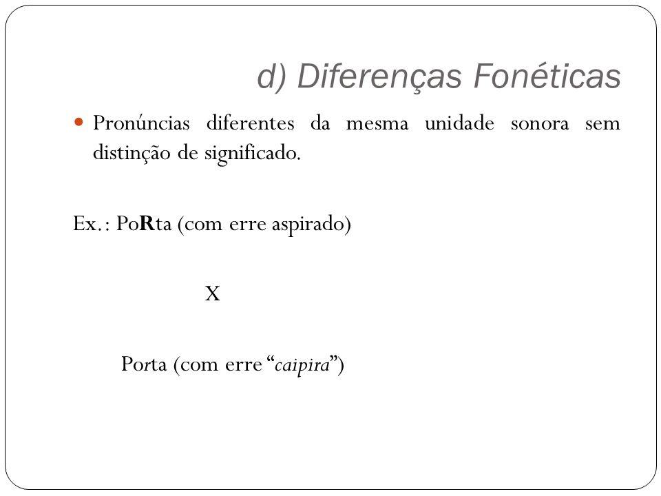 d) Diferenças Fonéticas Pronúncias diferentes da mesma unidade sonora sem distinção de significado. Ex.: PoRta (com erre aspirado) X Porta (com erre c