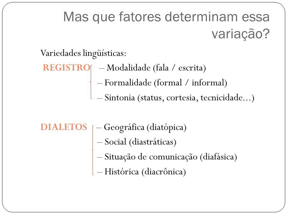 Mas que fatores determinam essa variação? Variedades lingüísticas: REGISTRO – Modalidade (fala / escrita) – Formalidade (formal / informal) – Sintonia