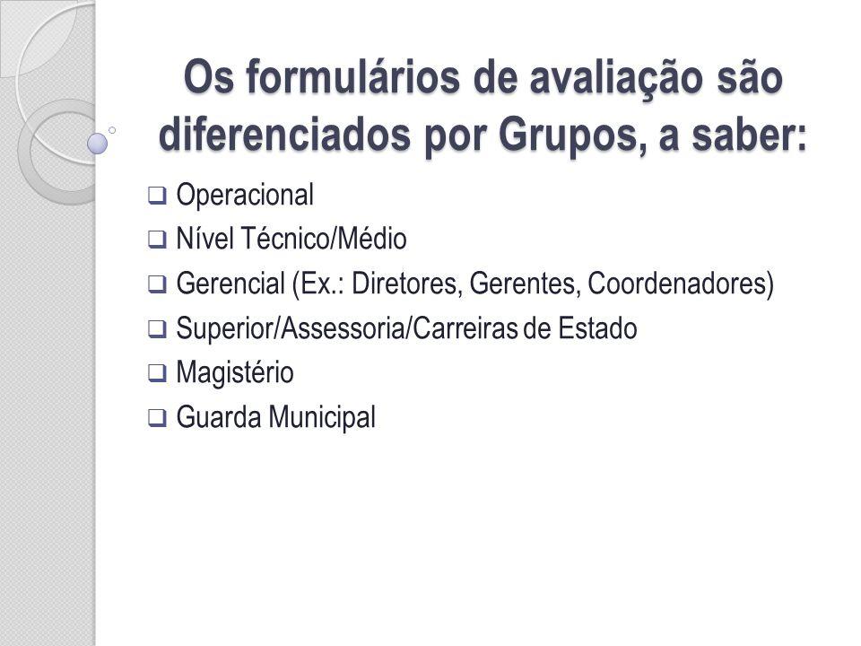 Os formulários de avaliação são diferenciados por Grupos, a saber: Operacional Nível Técnico/Médio Gerencial (Ex.: Diretores, Gerentes, Coordenadores)