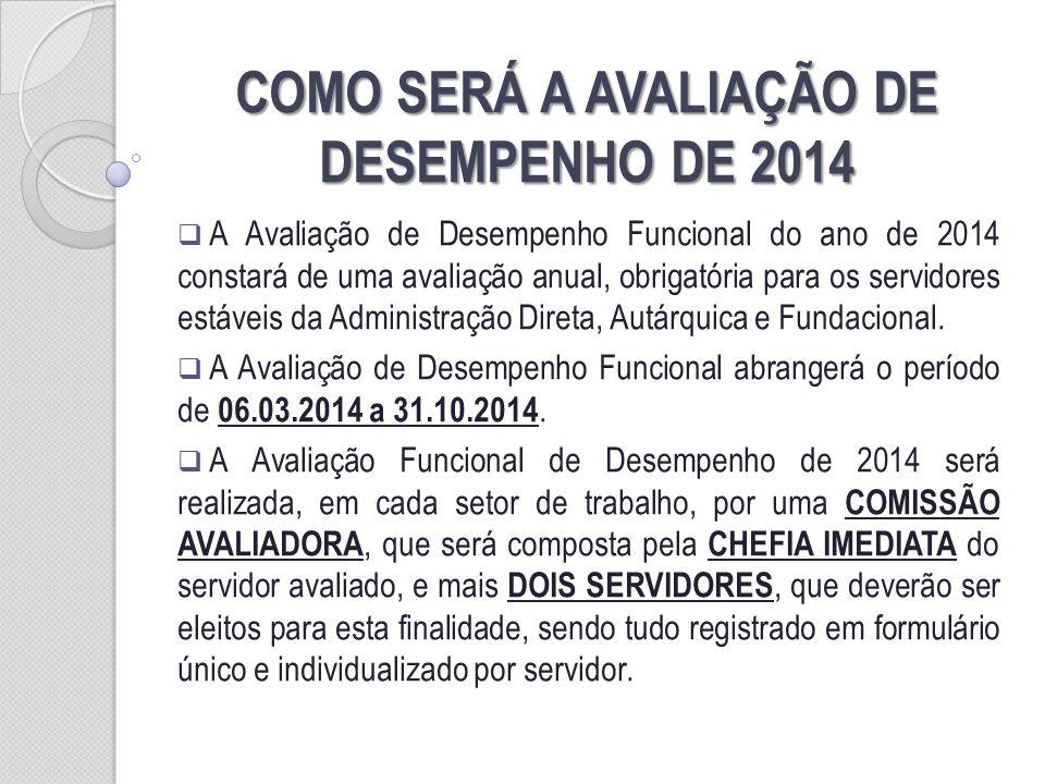 COMO SERÁ A AVALIAÇÃO DE DESEMPENHO DE 2014 A Avaliação de Desempenho Funcional do ano de 2014 constará de uma avaliação anual, obrigatória para os se