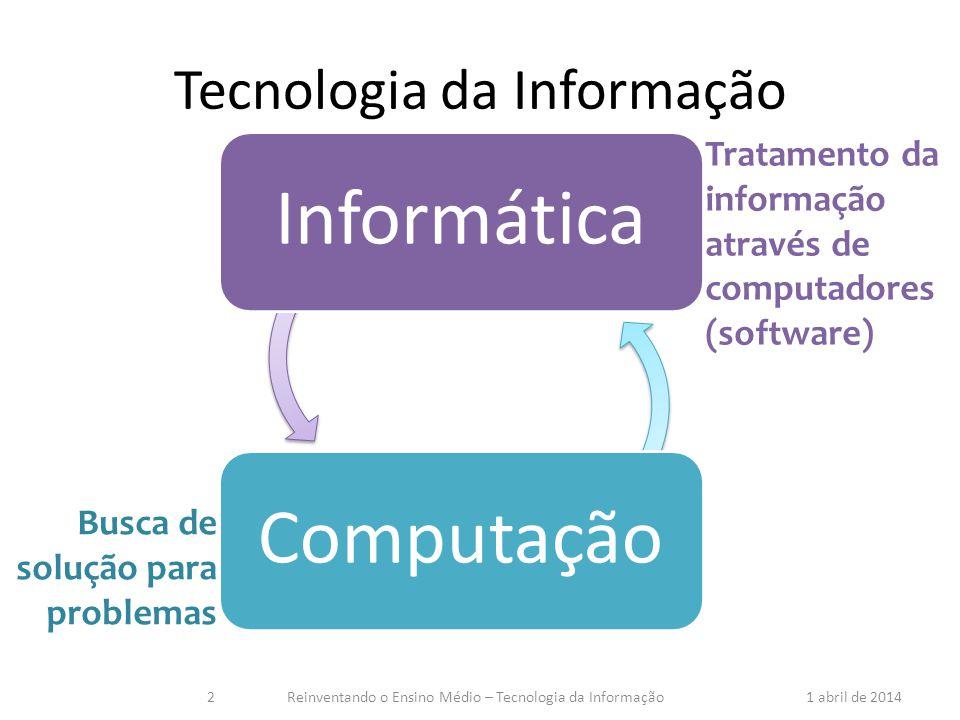 Tecnologia da Informação Tratamento da informação através de computadores (software) Busca de solução para problemas 1 abril de 2014Reinventando o Ens