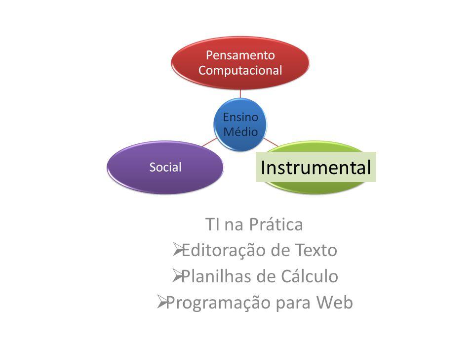 TI na Prática Editoração de Texto Planilhas de Cálculo Programação para Web Instrumental