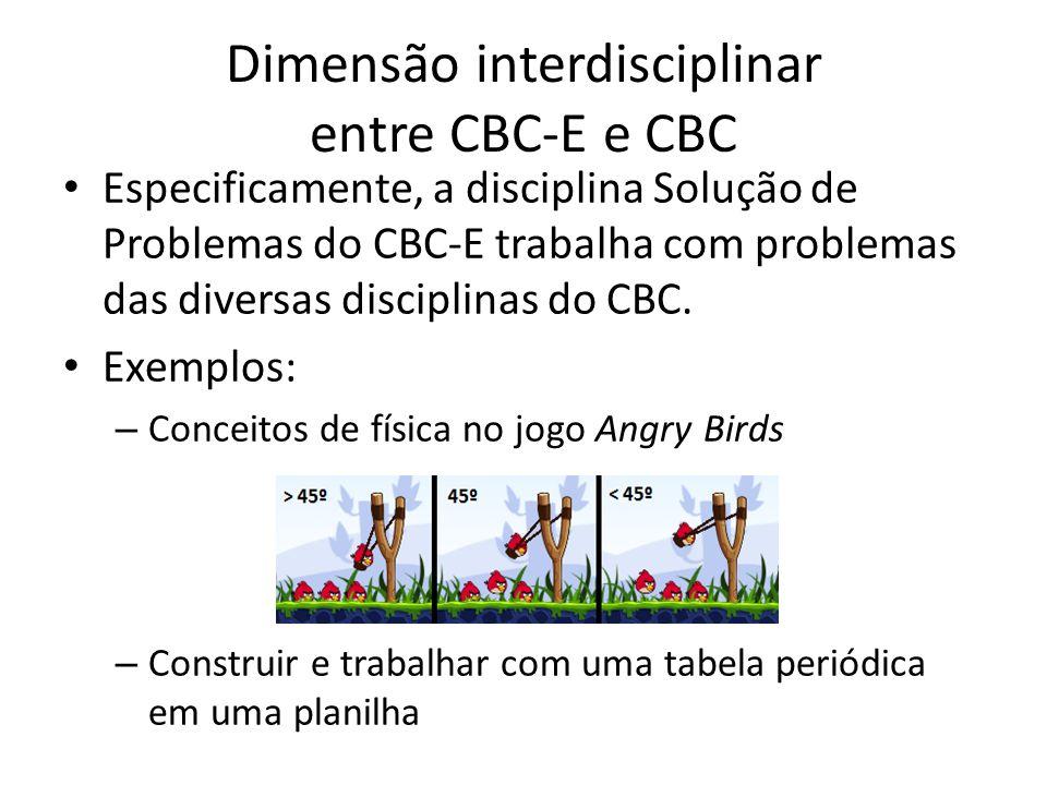 Dimensão interdisciplinar entre CBC-E e CBC Especificamente, a disciplina Solução de Problemas do CBC-E trabalha com problemas das diversas disciplina