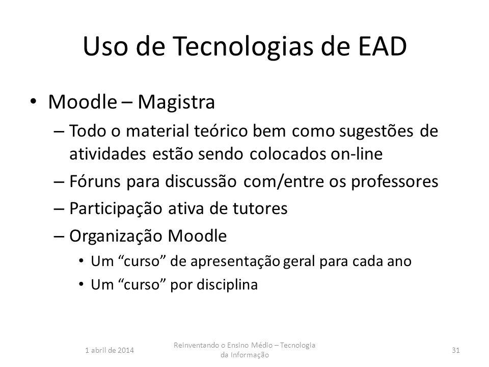 Uso de Tecnologias de EAD Moodle – Magistra – Todo o material teórico bem como sugestões de atividades estão sendo colocados on-line – Fóruns para dis