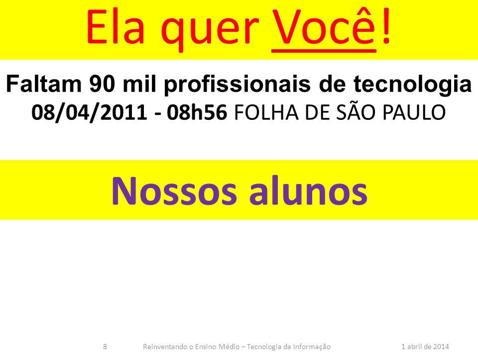 Nossos alunos Faltam 90 mil profissionais de tecnologia 08/04/2011 - 08h56 FOLHA DE SÃO PAULO Ela quer Você! 1 abril de 2014Reinventando o Ensino Médi