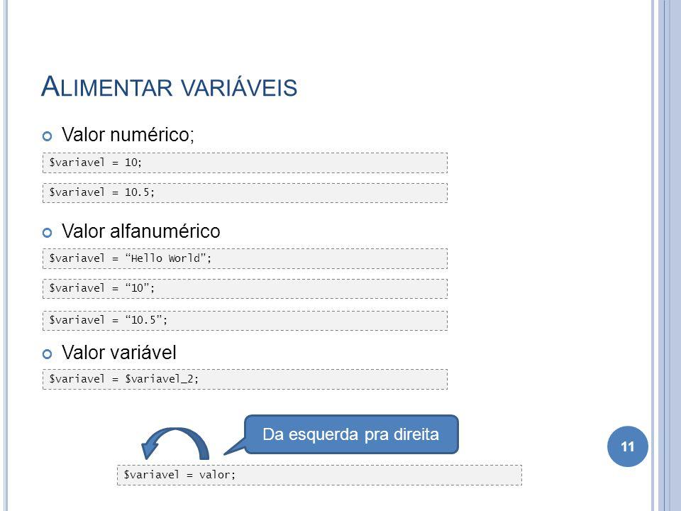 A LIMENTAR VARIÁVEIS Valor numérico; Valor alfanumérico Valor variável 11 $variavel = valor; Da esquerda pra direita $variavel = 10; $variavel = Hello