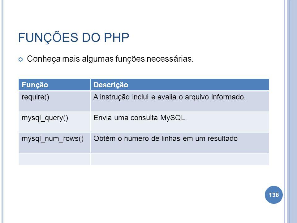 FUNÇÕES DO PHP Conheça mais algumas funções necessárias. 136 FunçãoDescrição require()A instrução inclui e avalia o arquivo informado. mysql_query()En