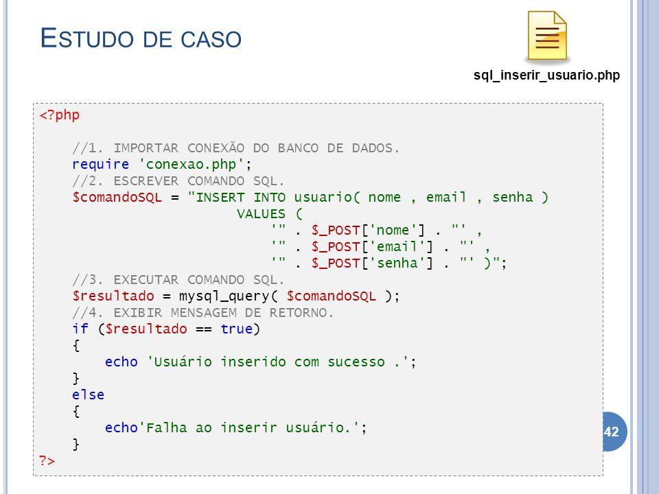 E STUDO DE CASO Complete os gets e sets para todos os atributos. 142 <?php //1. IMPORTAR CONEXÃO DO BANCO DE DADOS. require 'conexao.php'; //2. ESCREV