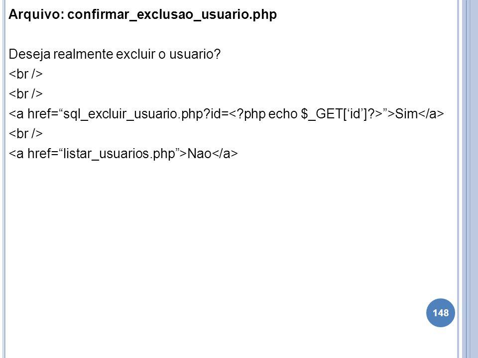 Arquivo: confirmar_exclusao_usuario.php Deseja realmente excluir o usuario? >Sim Nao 148