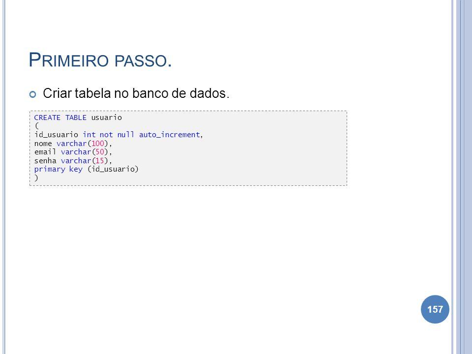 P RIMEIRO PASSO. Criar tabela no banco de dados. 157 CREATE TABLE usuario ( id_usuario int not null auto_increment, nome varchar(100), email varchar(5